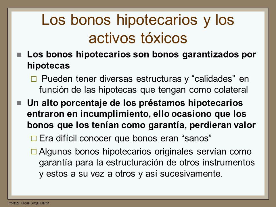 Profesor: Miguel Angel Martín Los bonos hipotecarios y los activos tóxicos Los bonos hipotecarios son bonos garantizados por hipotecas Pueden tener di