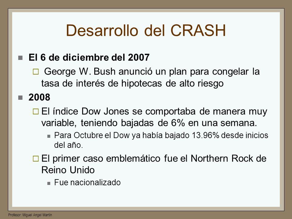 Profesor: Miguel Angel Martín Desarrollo del CRASH El 6 de diciembre del 2007 George W. Bush anunció un plan para congelar la tasa de interés de hipot