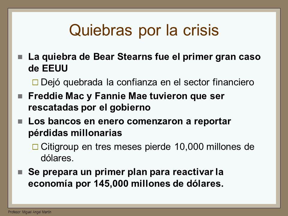 Profesor: Miguel Angel Martín Quiebras por la crisis La quiebra de Bear Stearns fue el primer gran caso de EEUU Dejó quebrada la confianza en el secto