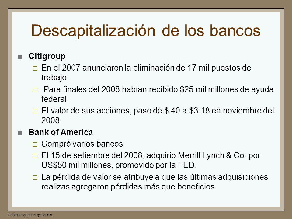 Profesor: Miguel Angel Martín Descapitalización de los bancos Citigroup En el 2007 anunciaron la eliminación de 17 mil puestos de trabajo. Para finale