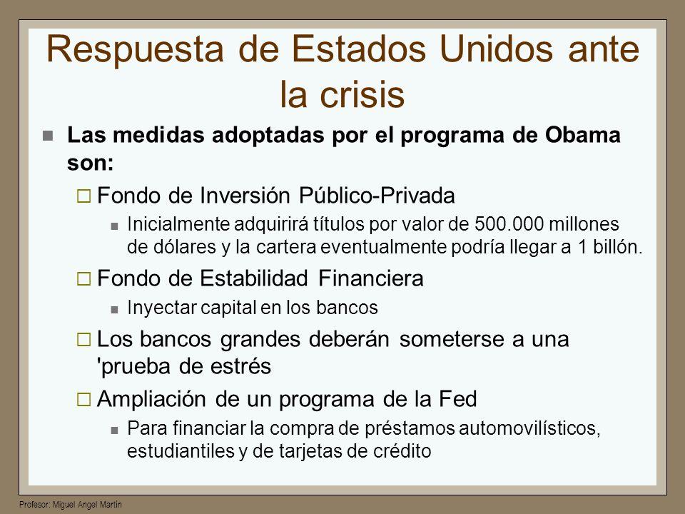 Profesor: Miguel Angel Martín Respuesta de Estados Unidos ante la crisis Las medidas adoptadas por el programa de Obama son: Fondo de Inversión Públic