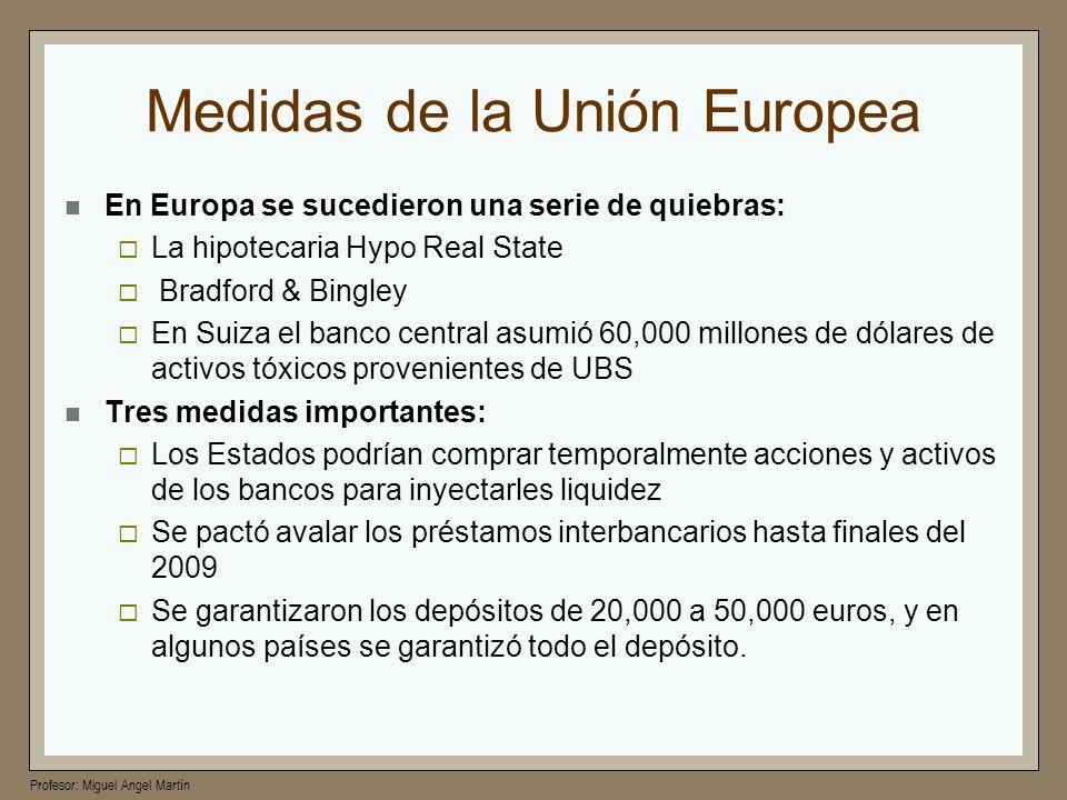 Profesor: Miguel Angel Martín Medidas de la Unión Europea En Europa se sucedieron una serie de quiebras: La hipotecaria Hypo Real State Bradford & Bin