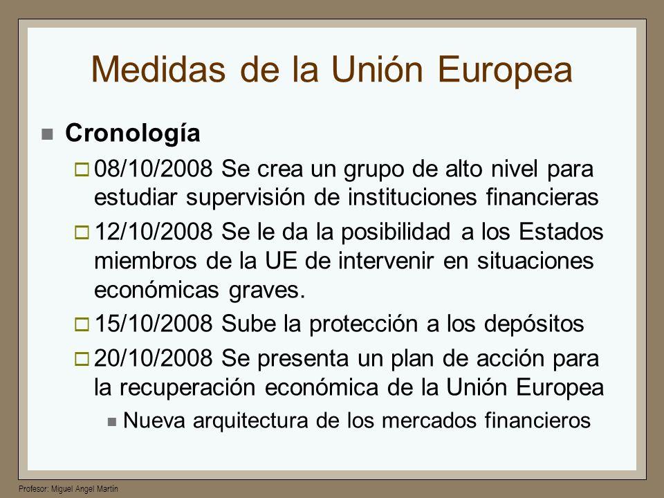 Profesor: Miguel Angel Martín Medidas de la Unión Europea Cronología 08/10/2008 Se crea un grupo de alto nivel para estudiar supervisión de institucio