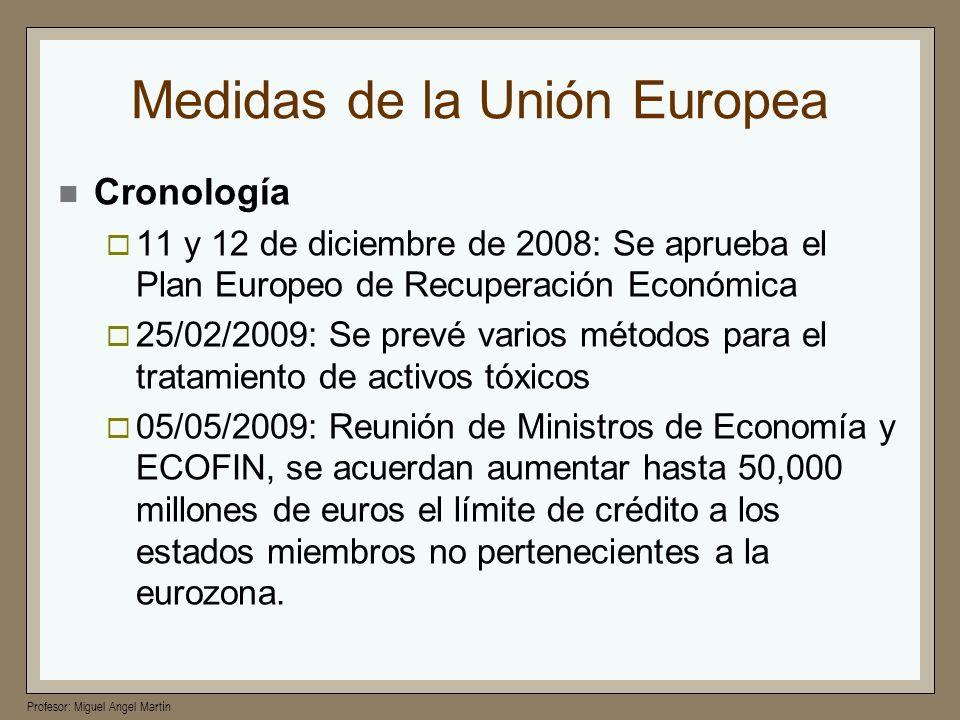 Profesor: Miguel Angel Martín Medidas de la Unión Europea Cronología 11 y 12 de diciembre de 2008: Se aprueba el Plan Europeo de Recuperación Económic