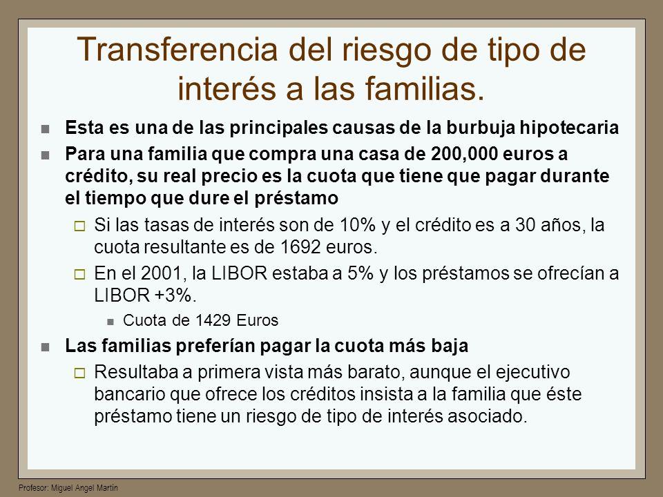 Profesor: Miguel Angel Martín Transferencia del riesgo de tipo de interés a las familias. Esta es una de las principales causas de la burbuja hipoteca
