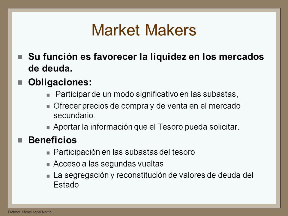 Profesor: Miguel Angel Martín Market Makers Su función es favorecer la liquidez en los mercados de deuda. Obligaciones: Participar de un modo signific