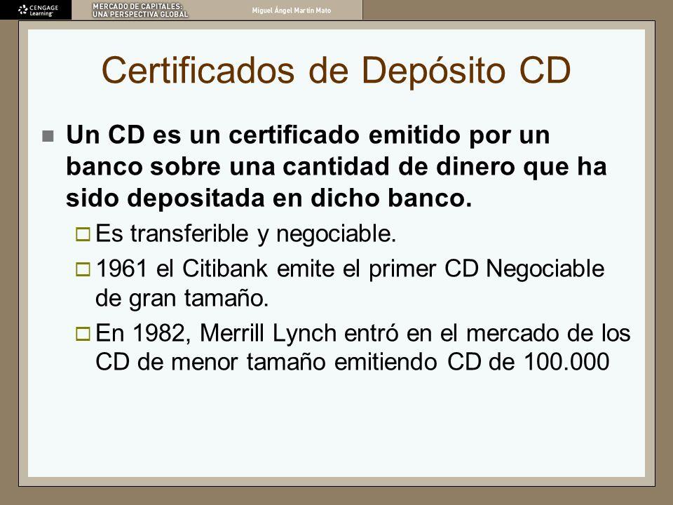 Certificados de Depósito CD Un CD es un certificado emitido por un banco sobre una cantidad de dinero que ha sido depositada en dicho banco. Es transf