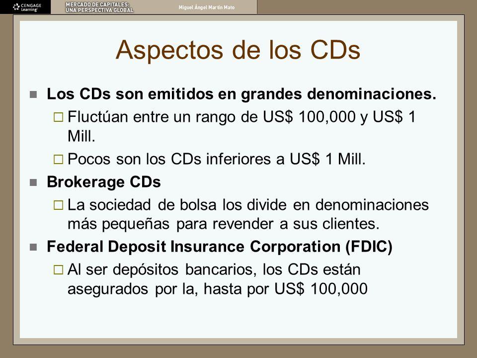 Aspectos de los CDs Los CDs son emitidos en grandes denominaciones. Fluctúan entre un rango de US$ 100,000 y US$ 1 Mill. Pocos son los CDs inferiores