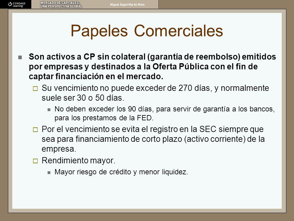Papeles Comerciales Son activos a CP sin colateral (garantía de reembolso) emitidos por empresas y destinados a la Oferta Pública con el fin de captar