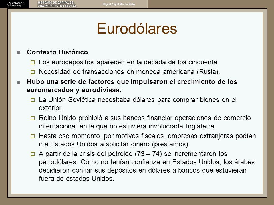 Eurodólares Contexto Histórico Los eurodepósitos aparecen en la década de los cincuenta. Necesidad de transacciones en moneda americana (Rusia). Hubo