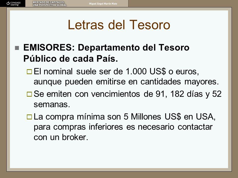 Letras del Tesoro EMISORES: Departamento del Tesoro Público de cada País. El nominal suele ser de 1.000 US$ o euros, aunque pueden emitirse en cantida