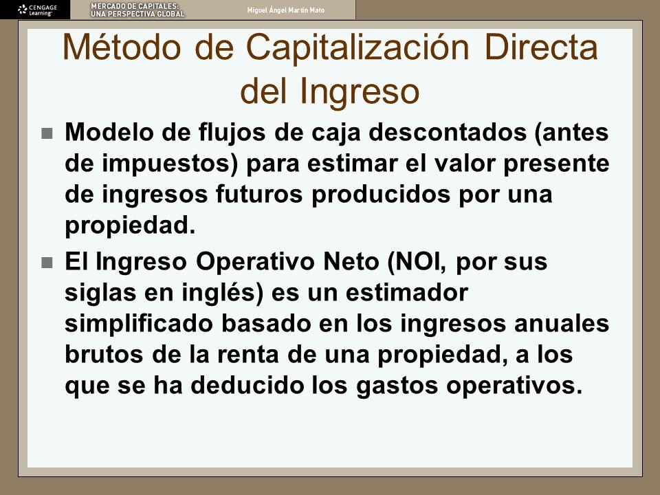 Método de Capitalización Directa del Ingreso Modelo de flujos de caja descontados (antes de impuestos) para estimar el valor presente de ingresos futu