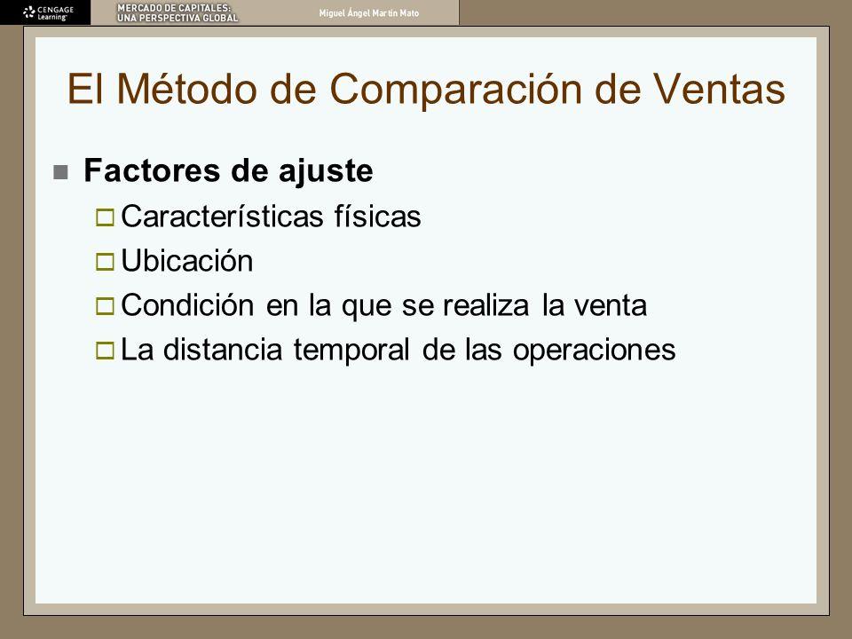 El Método de Comparación de Ventas Factores de ajuste Características físicas Ubicación Condición en la que se realiza la venta La distancia temporal