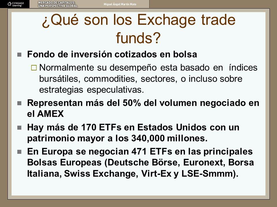¿Qué son los Exchage trade funds? Fondo de inversión cotizados en bolsa Normalmente su desempeño esta basado en índices bursátiles, commodities, secto