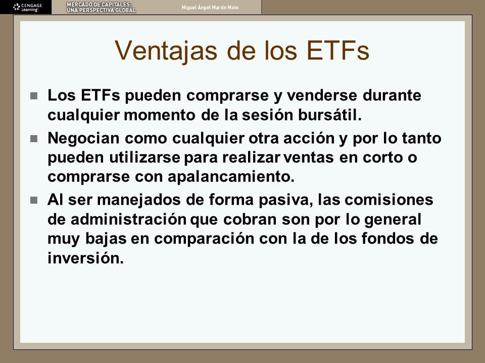 Ventajas de los ETFs Los ETFs pueden comprarse y venderse durante cualquier momento de la sesión bursátil. Negocian como cualquier otra acción y por l