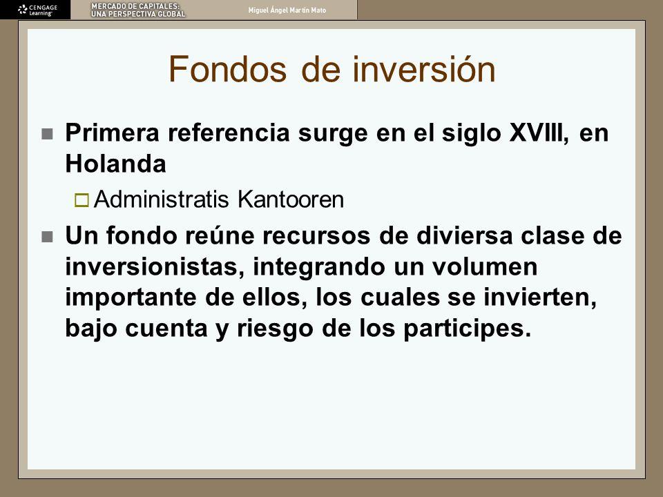 Fondos de inversión Primera referencia surge en el siglo XVIII, en Holanda Administratis Kantooren Un fondo reúne recursos de diviersa clase de invers