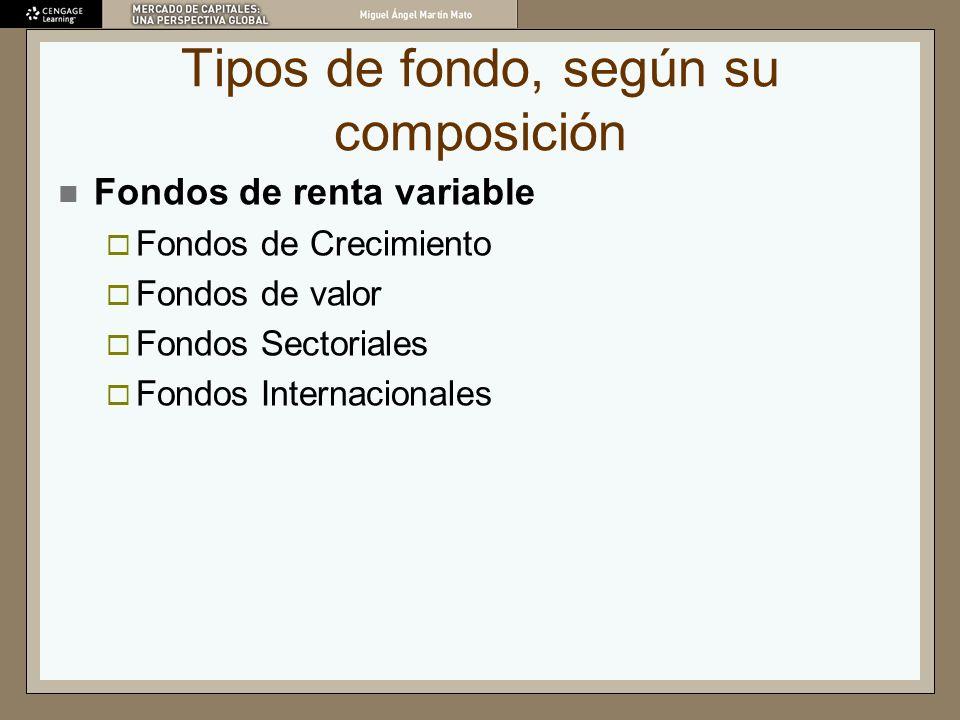 Tipos de fondo, según su composición Fondos de renta variable Fondos de Crecimiento Fondos de valor Fondos Sectoriales Fondos Internacionales