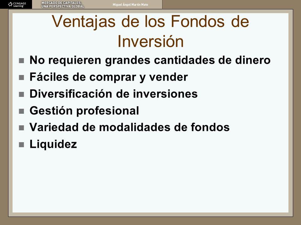 Ventajas de los Fondos de Inversión No requieren grandes cantidades de dinero Fáciles de comprar y vender Diversificación de inversiones Gestión profe