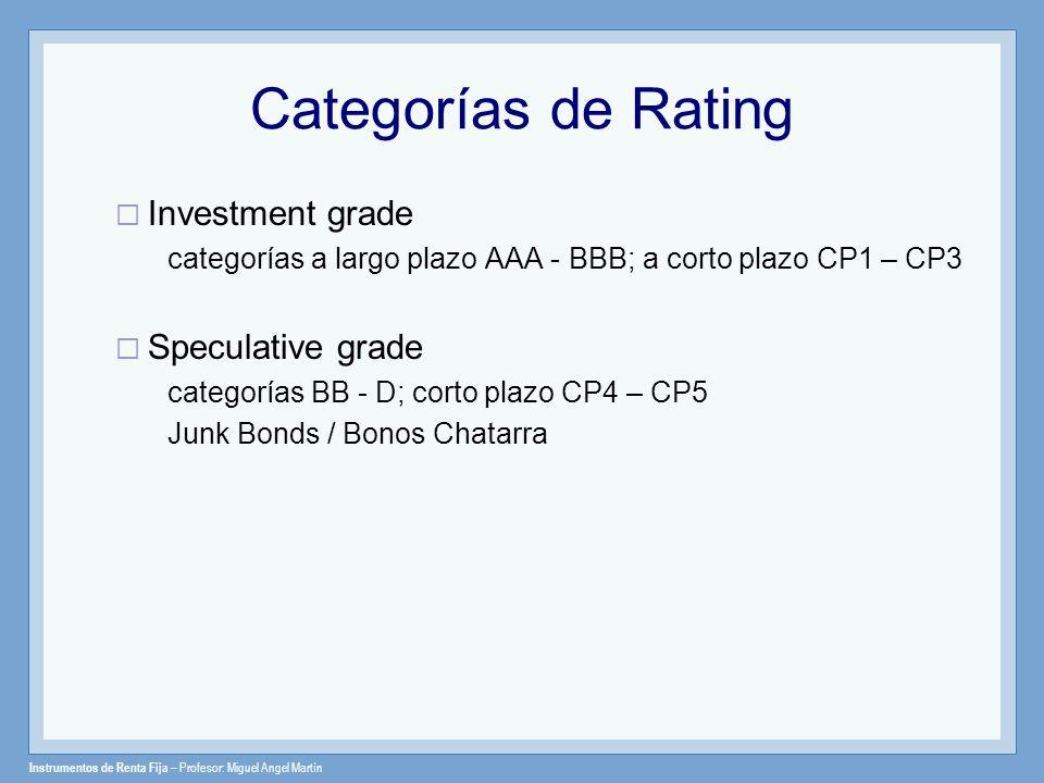 Instrumentos de Renta Fija – Profesor: Miguel Angel Martín Categorías de Rating Investment grade categorías a largo plazo AAA - BBB; a corto plazo CP1