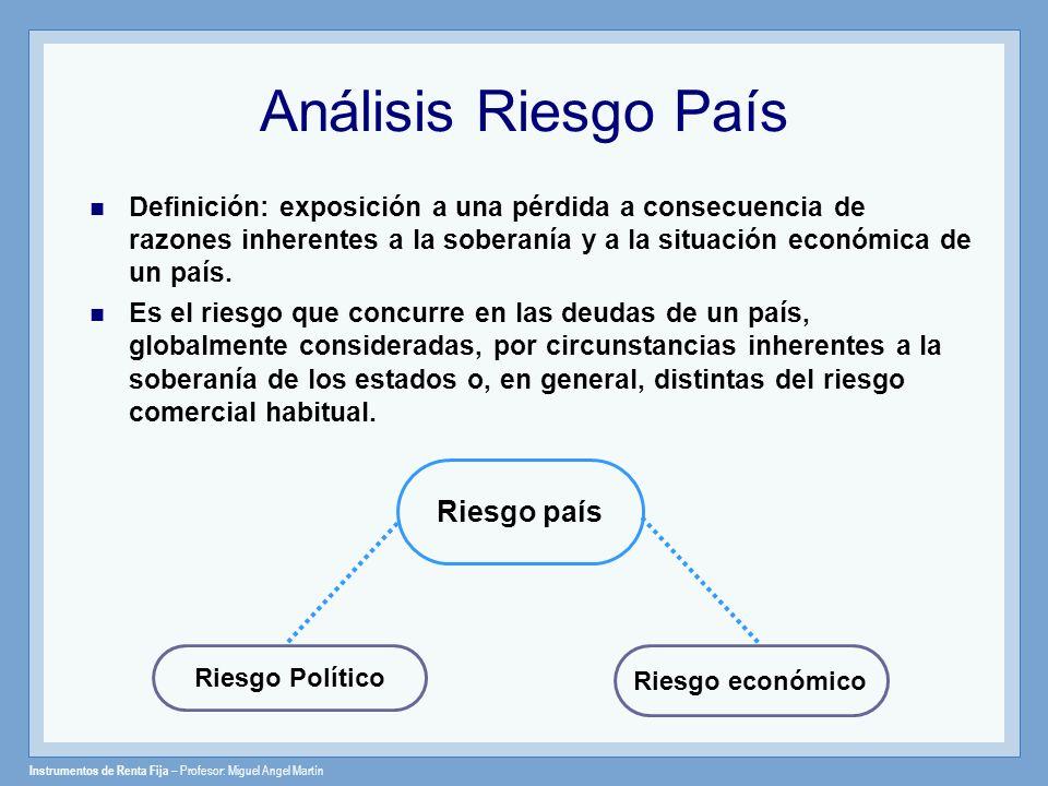 Instrumentos de Renta Fija – Profesor: Miguel Angel Martín Análisis Riesgo País Definición: exposición a una pérdida a consecuencia de razones inheren