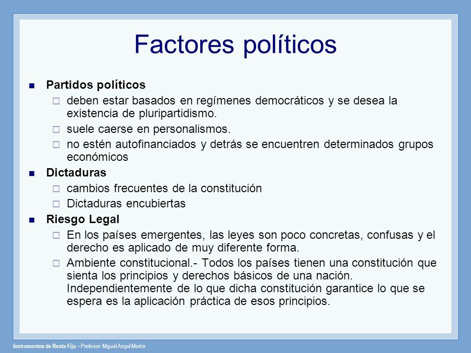 Instrumentos de Renta Fija – Profesor: Miguel Angel Martín Factores políticos Partidos políticos deben estar basados en regímenes democráticos y se de