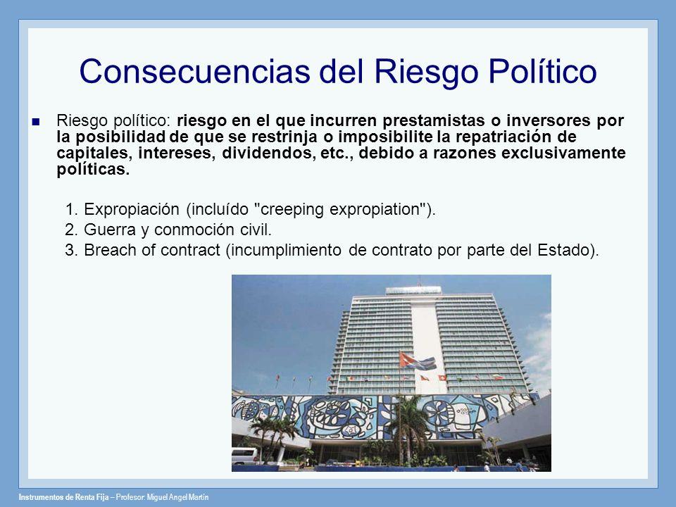 Instrumentos de Renta Fija – Profesor: Miguel Angel Martín Consecuencias del Riesgo Político Riesgo político: riesgo en el que incurren prestamistas o