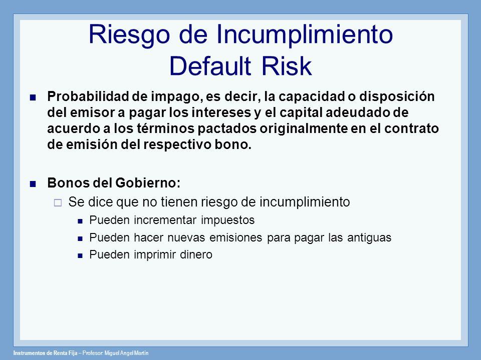 Instrumentos de Renta Fija – Profesor: Miguel Angel Martín Riesgo de Incumplimiento Default Risk Probabilidad de impago, es decir, la capacidad o disp