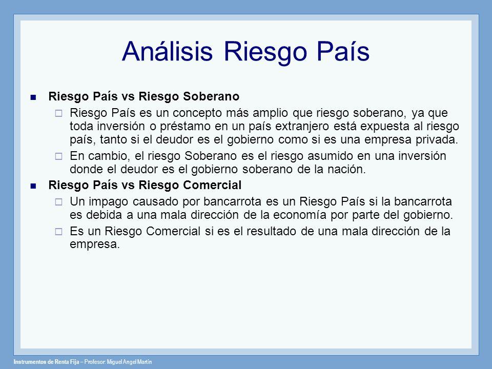Instrumentos de Renta Fija – Profesor: Miguel Angel Martín Análisis Riesgo País Riesgo País vs Riesgo Soberano Riesgo País es un concepto más amplio q