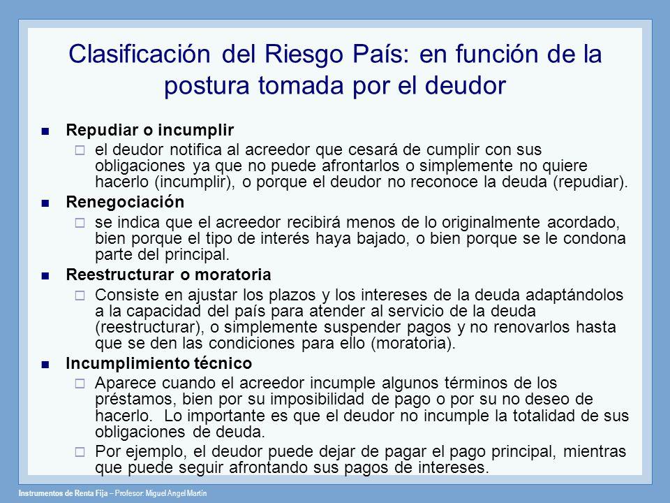 Instrumentos de Renta Fija – Profesor: Miguel Angel Martín Clasificación del Riesgo País: en función de la postura tomada por el deudor Repudiar o inc