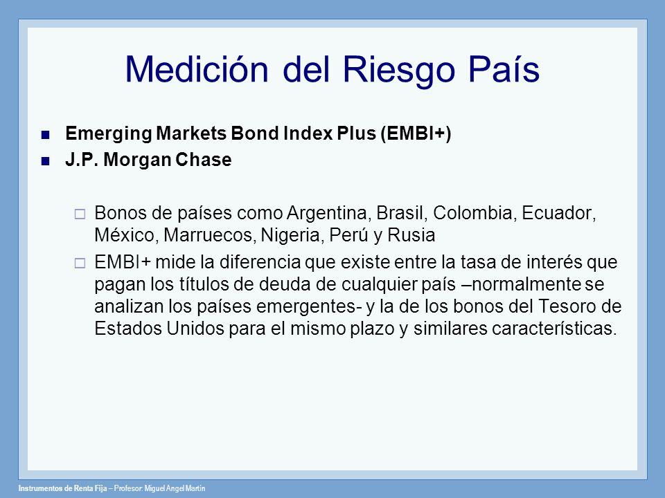 Instrumentos de Renta Fija – Profesor: Miguel Angel Martín Medición del Riesgo País Emerging Markets Bond Index Plus (EMBI+) J.P. Morgan Chase Bonos d