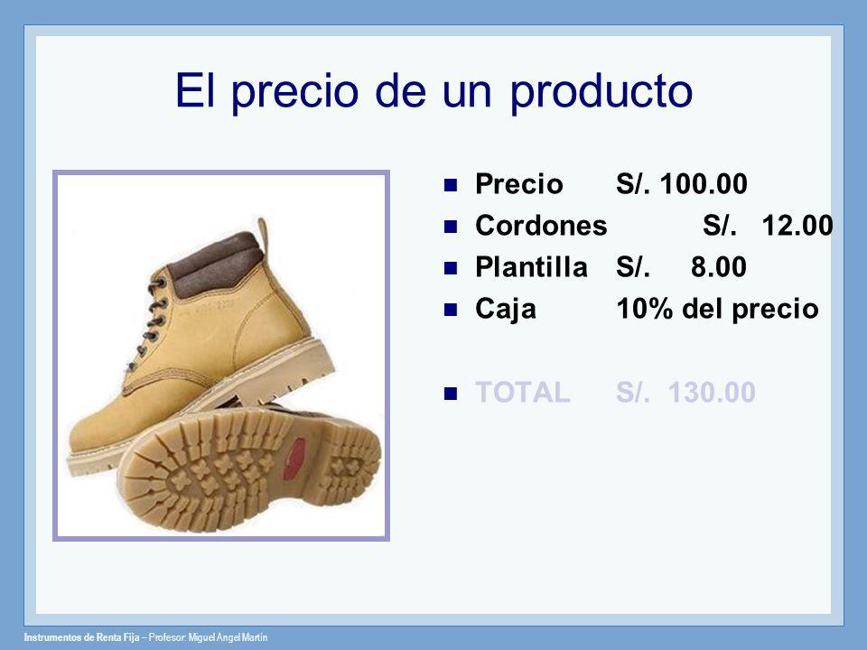 Instrumentos de Renta Fija – Profesor: Miguel Angel Martín El precio de un producto Precio S/. 100.00 Cordones S/. 12.00 Plantilla S/. 8.00 Caja10% de