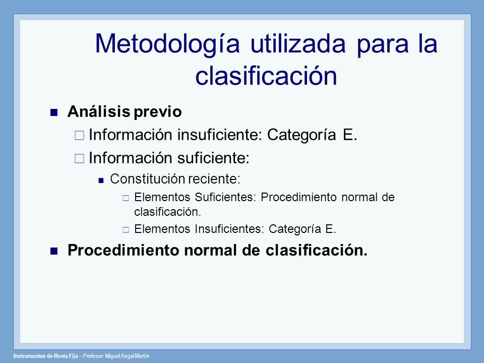 Instrumentos de Renta Fija – Profesor: Miguel Angel Martín Análisis previo Información insuficiente: Categoría E. Información suficiente: Constitución