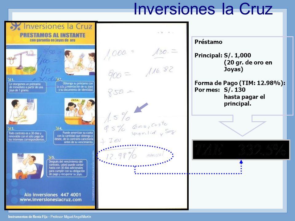 Instrumentos de Renta Fija – Profesor: Miguel Angel Martín Inversiones la Cruz Préstamo Principal: S/. 1,000 (20 gr. de oro en Joyas) Forma de Pago (T