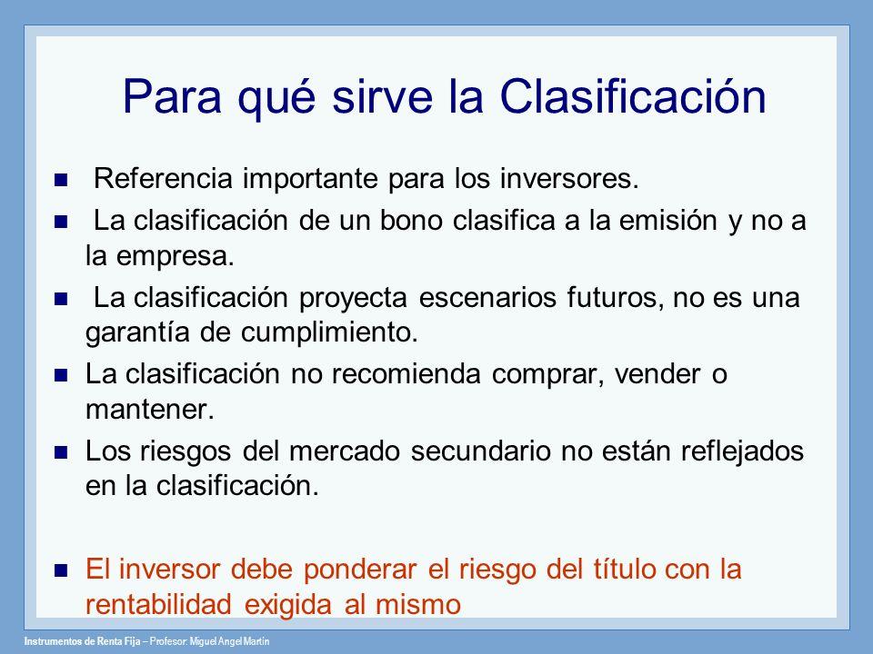 Instrumentos de Renta Fija – Profesor: Miguel Angel Martín Categorías de Rating Investment grade categorías a largo plazo AAA - BBB; a corto plazo CP1 – CP3 Speculative grade categorías BB - D; corto plazo CP4 – CP5 Junk Bonds / Bonos Chatarra