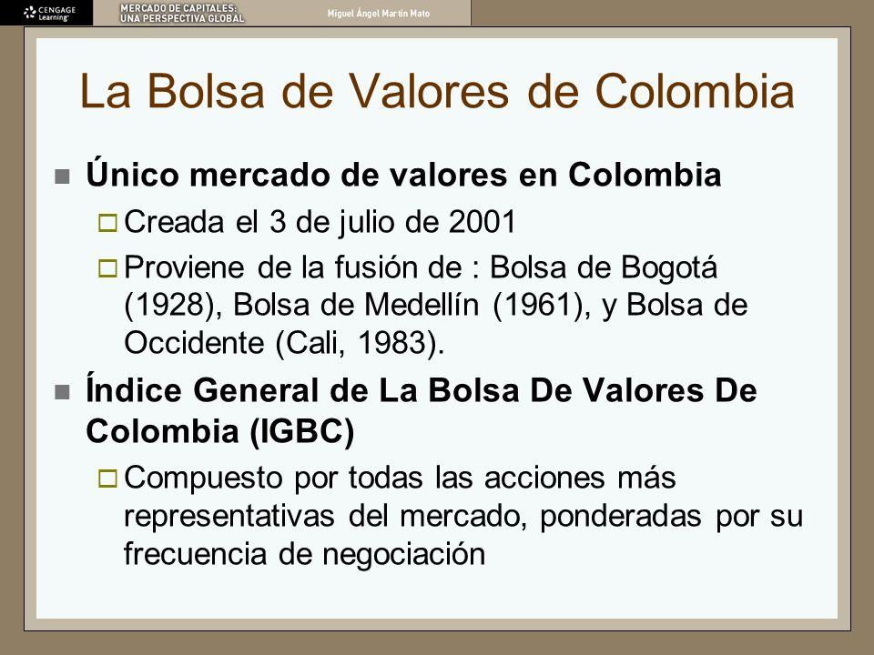La Bolsa de Valores de Colombia Único mercado de valores en Colombia Creada el 3 de julio de 2001 Proviene de la fusión de : Bolsa de Bogotá (1928), B