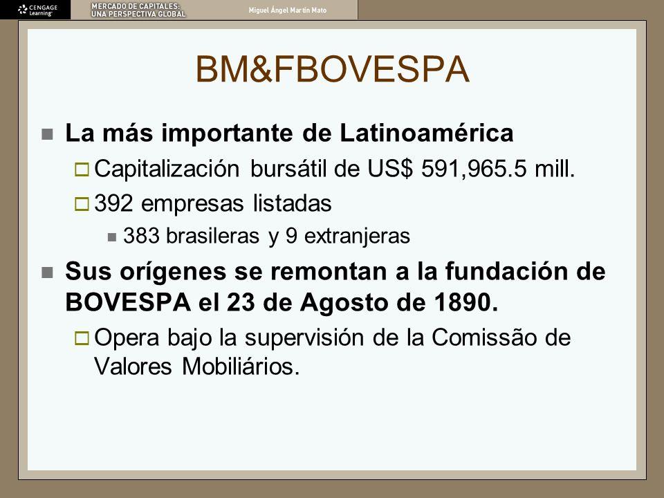 BM&FBOVESPA La más importante de Latinoamérica Capitalización bursátil de US$ 591,965.5 mill. 392 empresas listadas 383 brasileras y 9 extranjeras Sus