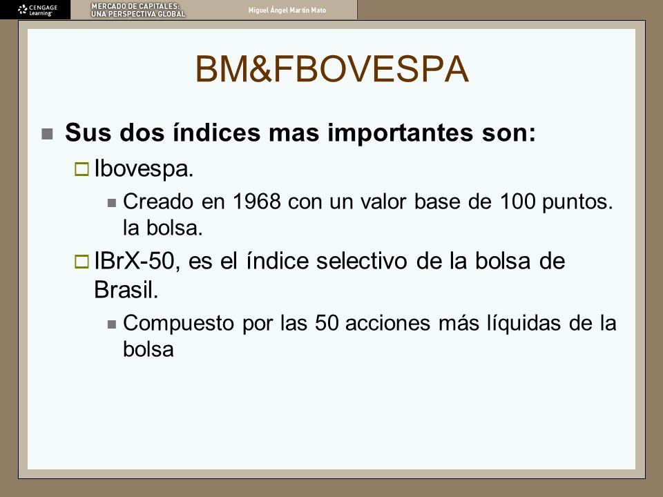 BM&FBOVESPA Sus dos índices mas importantes son: Ibovespa. Creado en 1968 con un valor base de 100 puntos. la bolsa. IBrX-50, es el índice selectivo d