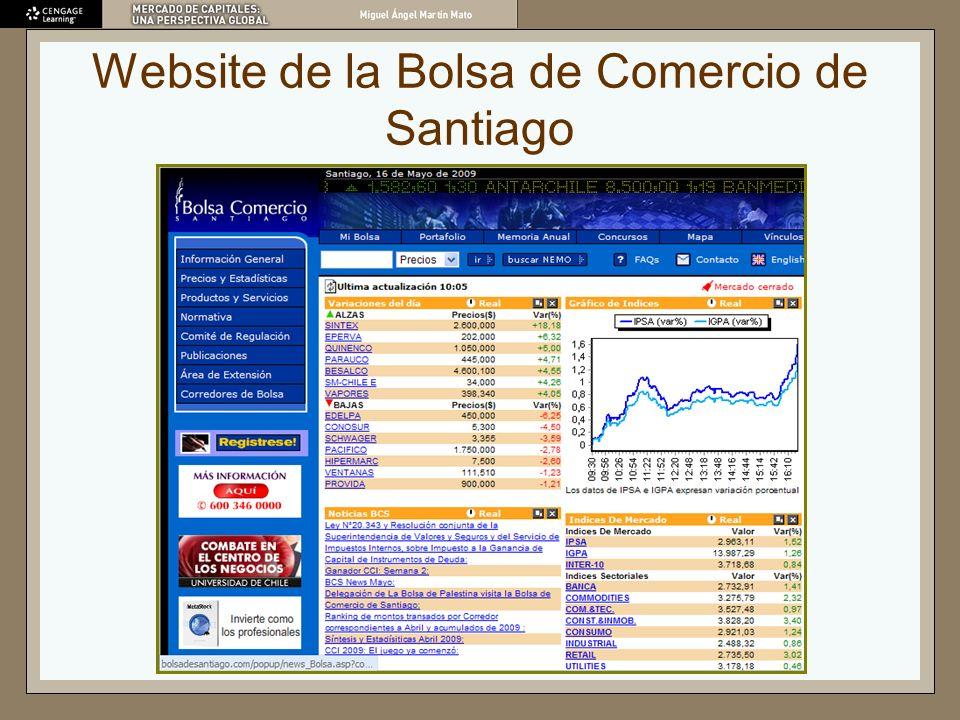 Website de la Bolsa de Comercio de Santiago