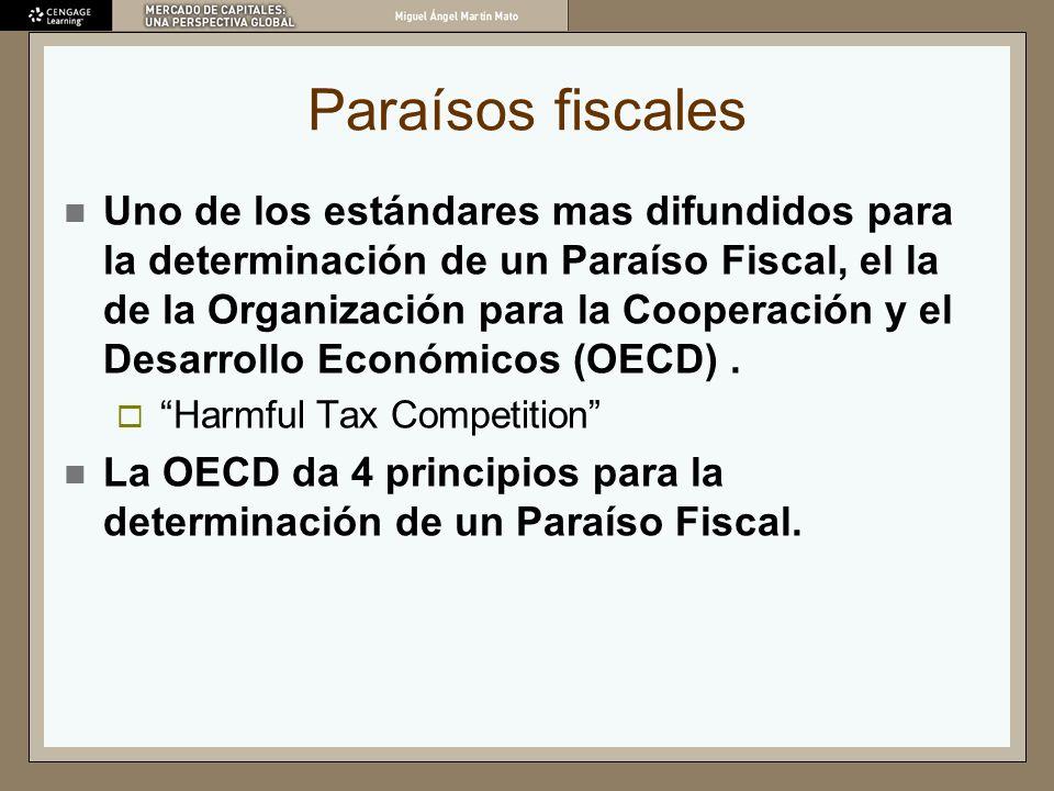 Principios de la OECD Ningún impuesto o solamente impuestos nominales.