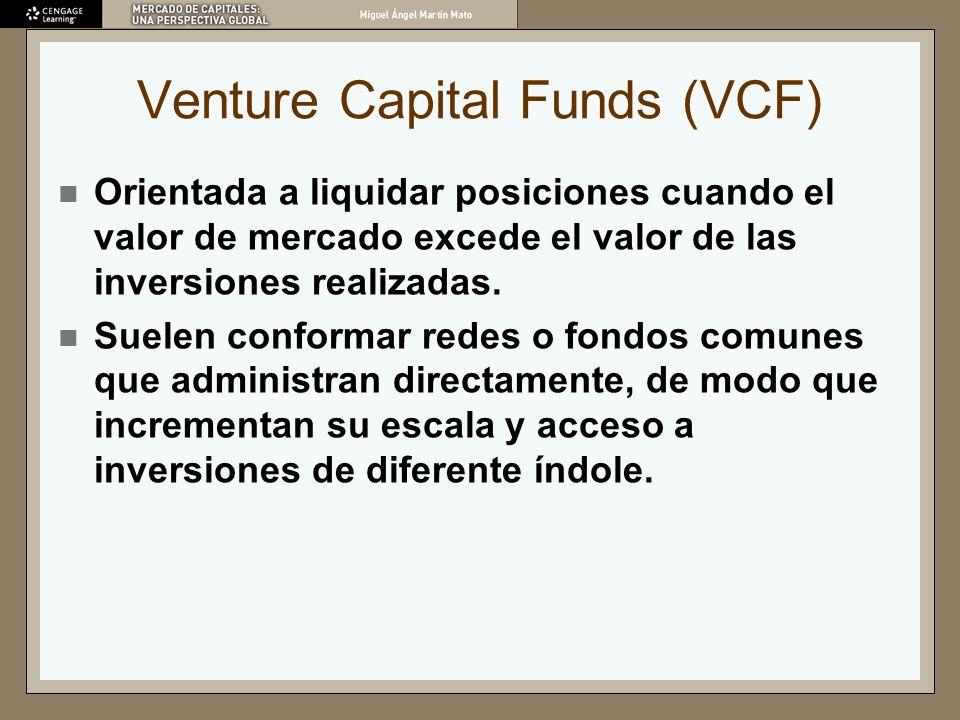 Venture Capital Funds (VCF) Orientada a liquidar posiciones cuando el valor de mercado excede el valor de las inversiones realizadas. Suelen conformar
