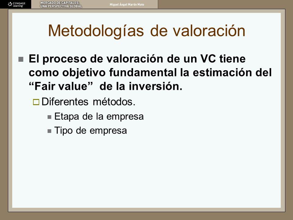 Metodologías de valoración El proceso de valoración de un VC tiene como objetivo fundamental la estimación del Fair value de la inversión. Diferentes