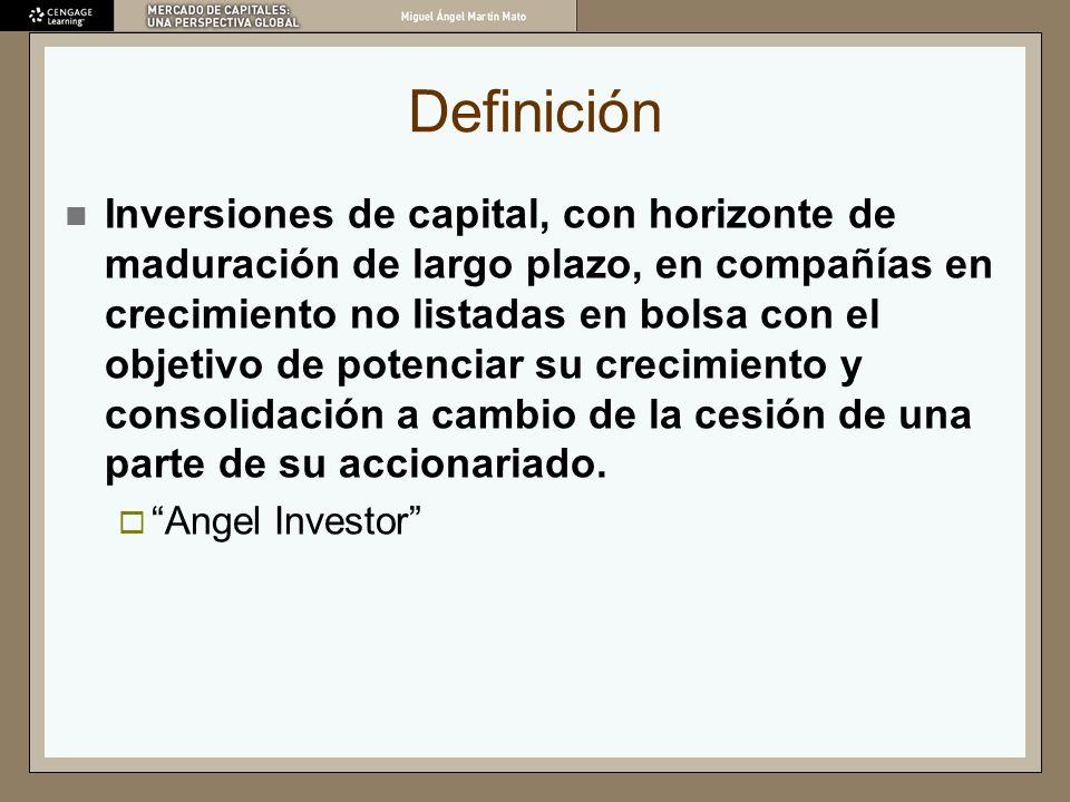 Definición Inversiones de capital, con horizonte de maduración de largo plazo, en compañías en crecimiento no listadas en bolsa con el objetivo de pot
