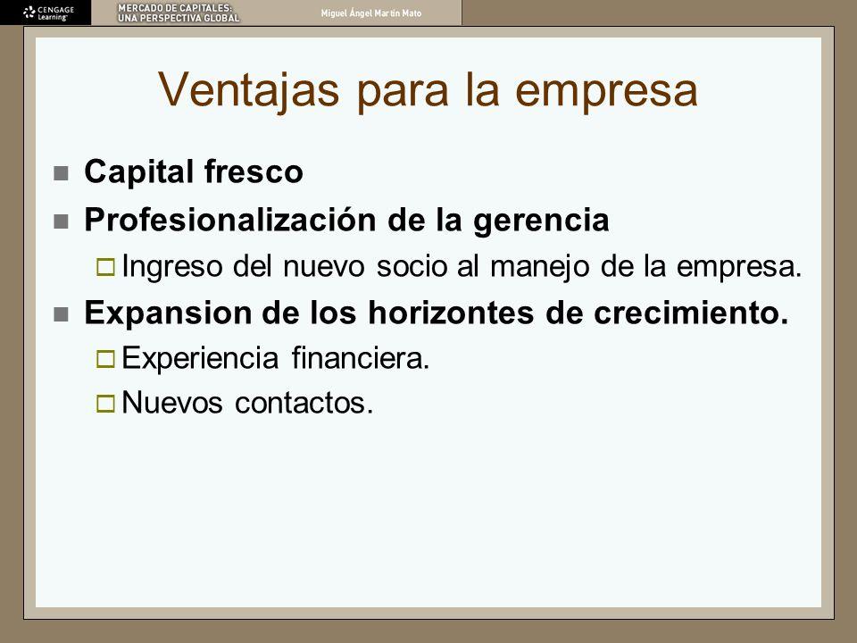 Ventajas para la empresa Capital fresco Profesionalización de la gerencia Ingreso del nuevo socio al manejo de la empresa. Expansion de los horizontes