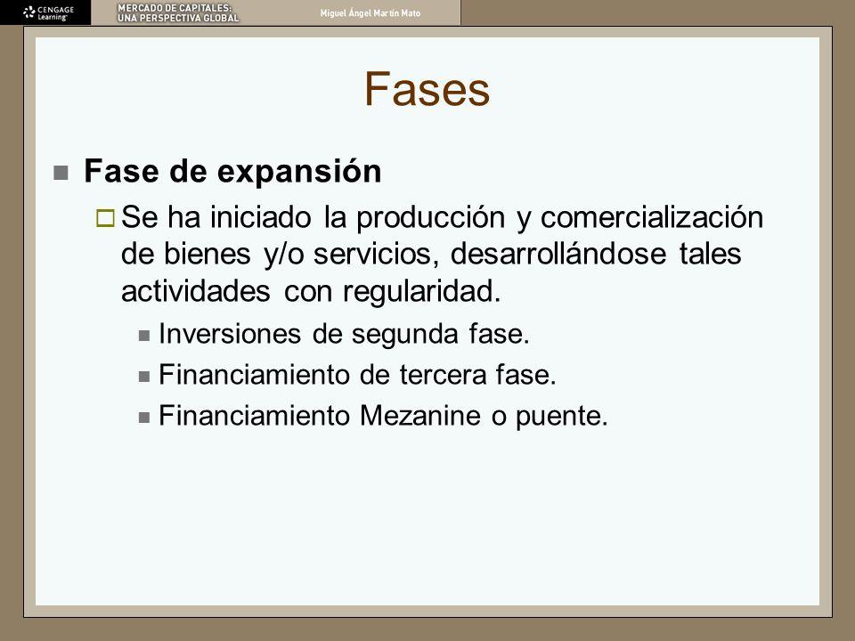 Fases Fase de expansión Se ha iniciado la producción y comercialización de bienes y/o servicios, desarrollándose tales actividades con regularidad. In