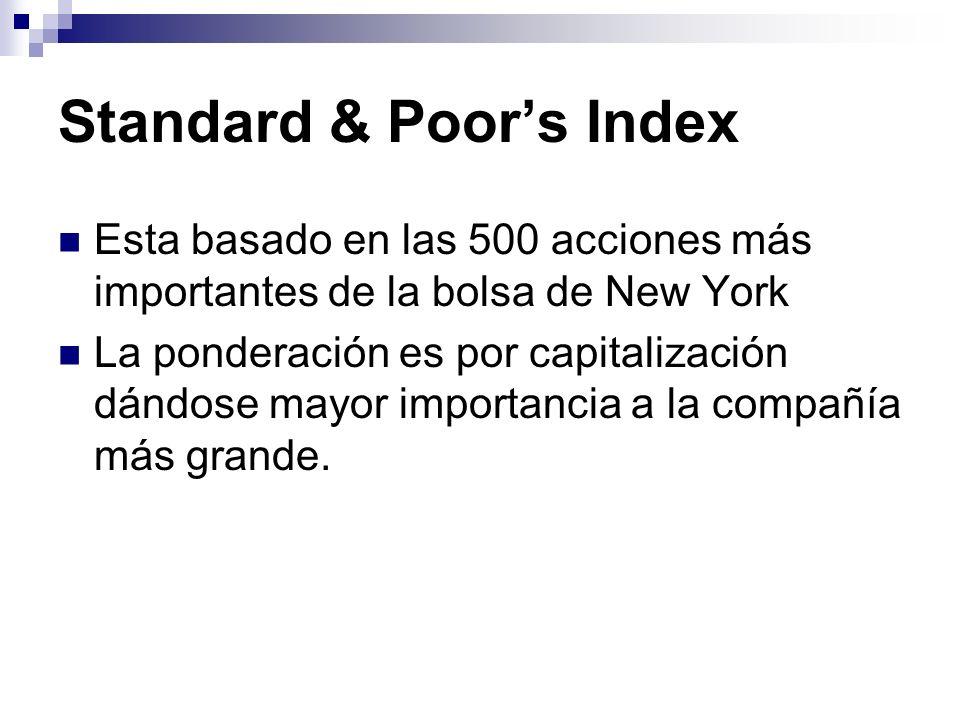 Standard & Poors Index Esta basado en las 500 acciones más importantes de la bolsa de New York La ponderación es por capitalización dándose mayor impo