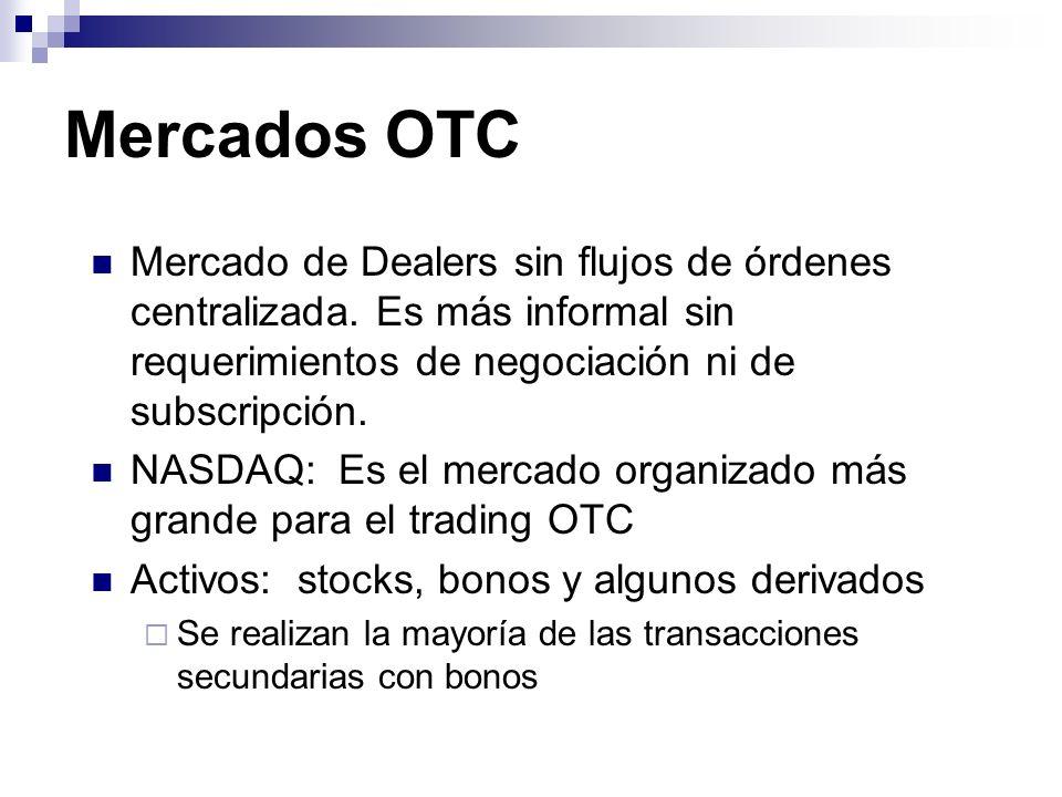 Mercados OTC Mercado de Dealers sin flujos de órdenes centralizada. Es más informal sin requerimientos de negociación ni de subscripción. NASDAQ: Es e