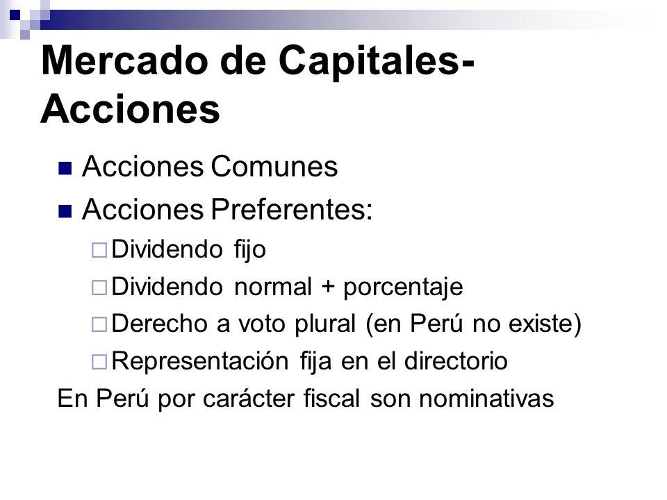 Mercado de Capitales- Acciones Acciones Comunes Acciones Preferentes: Dividendo fijo Dividendo normal + porcentaje Derecho a voto plural (en Perú no e