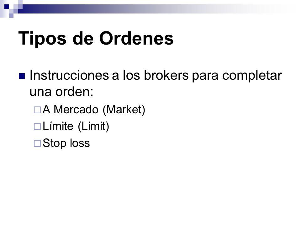 Tipos de Ordenes Instrucciones a los brokers para completar una orden: A Mercado (Market) Límite (Limit) Stop loss