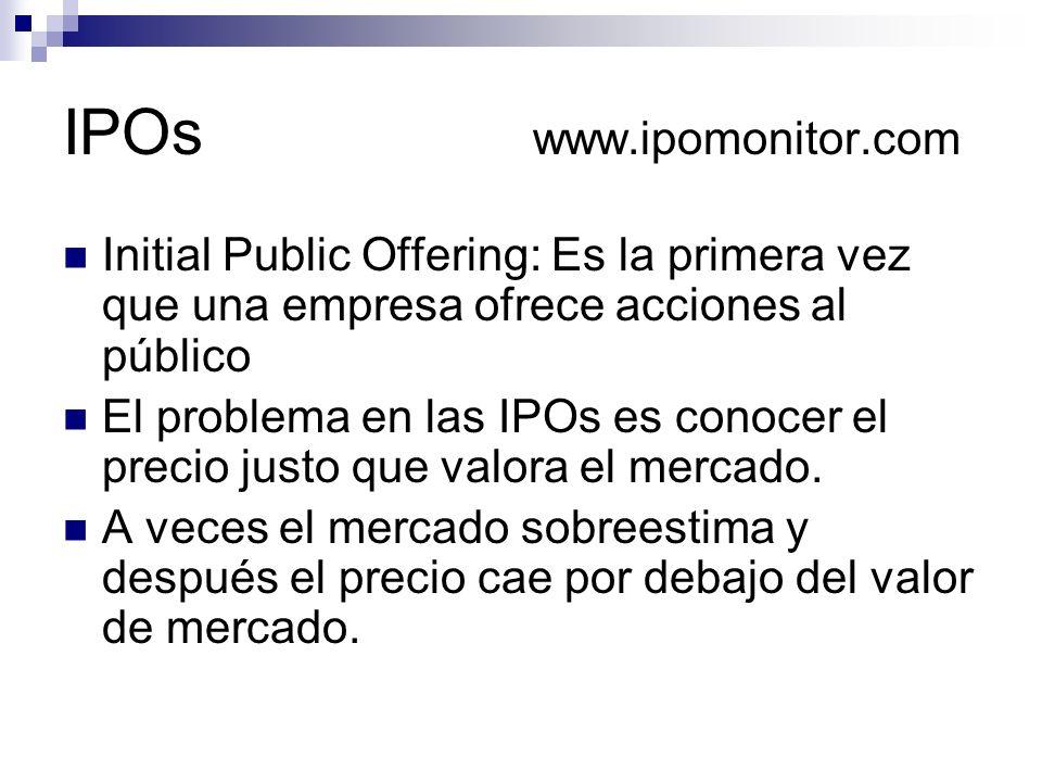 IPOs www.ipomonitor.com Initial Public Offering: Es la primera vez que una empresa ofrece acciones al público El problema en las IPOs es conocer el pr