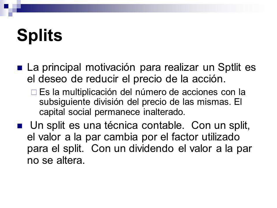 Splits La principal motivación para realizar un Sptlit es el deseo de reducir el precio de la acción. Es la multiplicación del número de acciones con